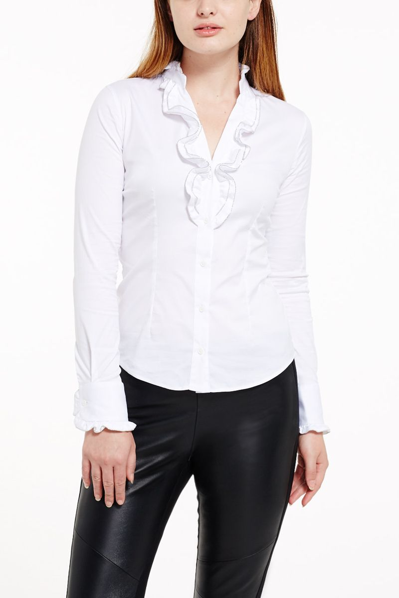 Ruffle Shirt with Trim Detail