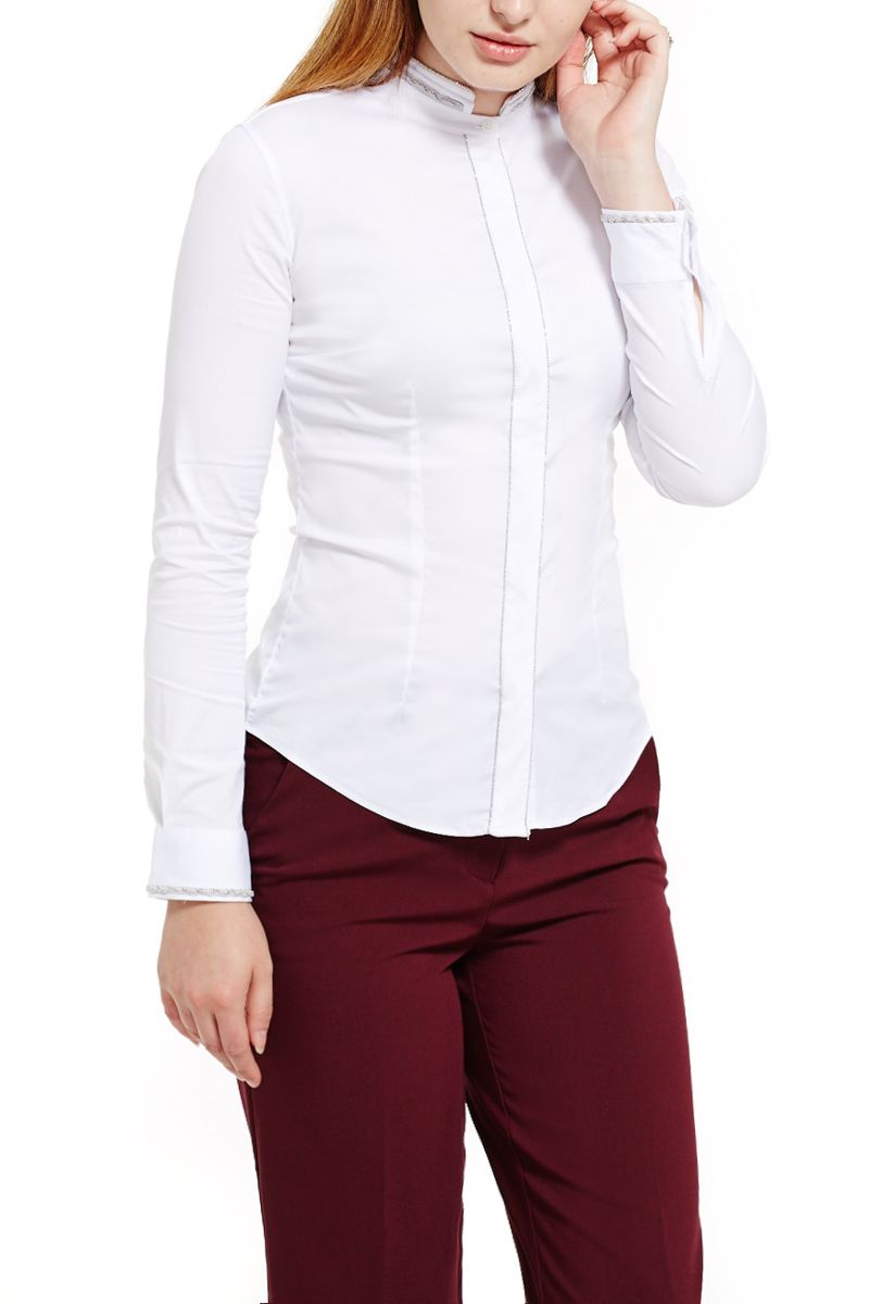 White Shirt with Silver Detail
