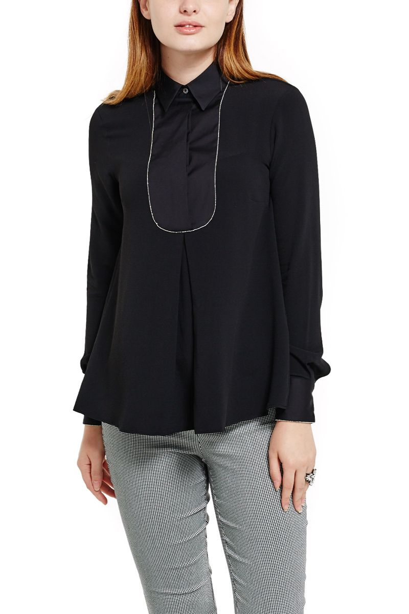Black Blouse with Silver detail
