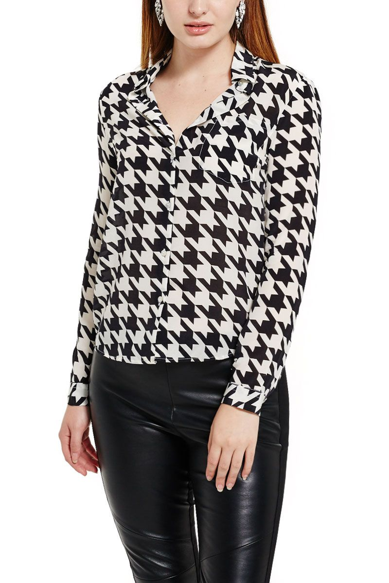 Houndstooth Silk Blouse