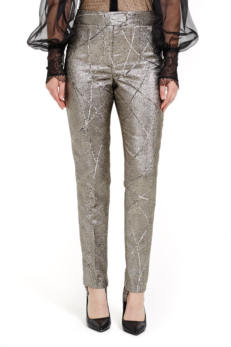 Metallic Slim Pants with Stirrup