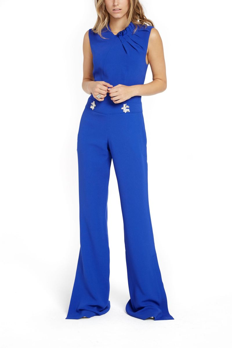 Crepe Jumpsuit with Jewel Appliques