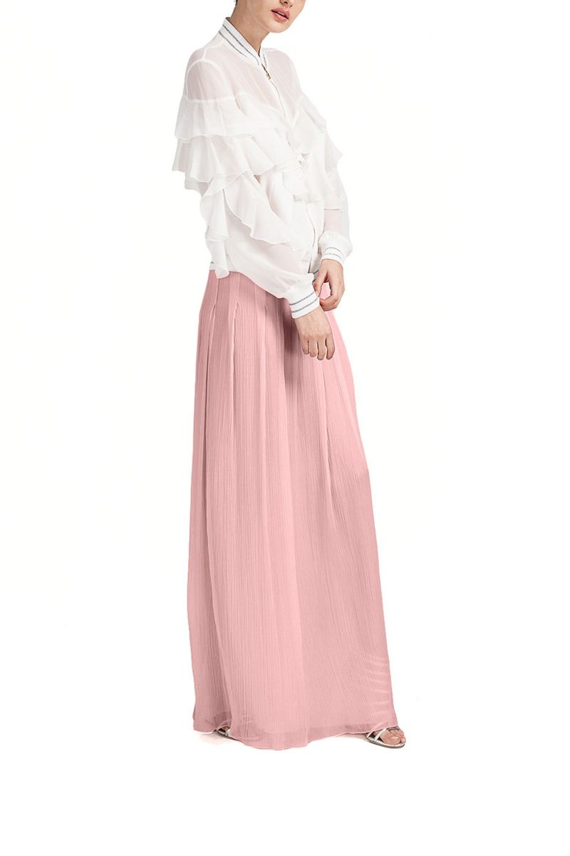 Pleated Crêpe Maxi Skirt