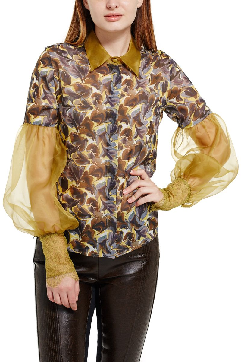 Silk Blouse with Accent Sleeve