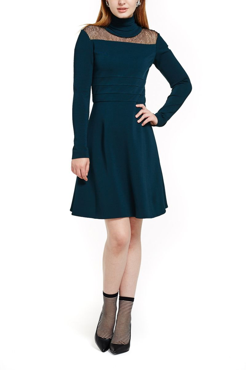 Stretch Turtleneck Dress with Lace