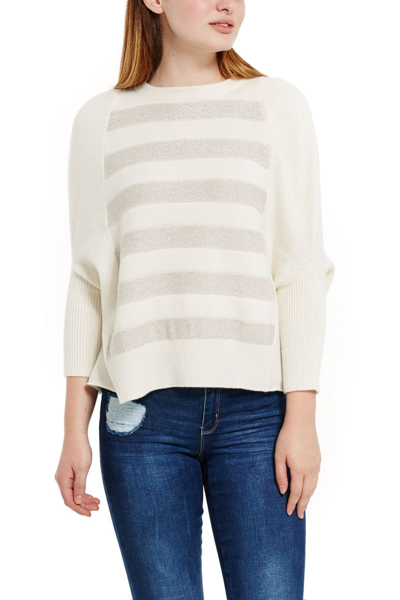 Cream Cashmere Sweater with Accent Stripes