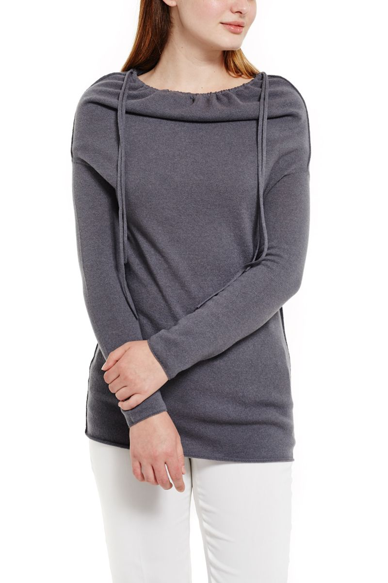 Cashmere Sweater with Adjustable Neckline