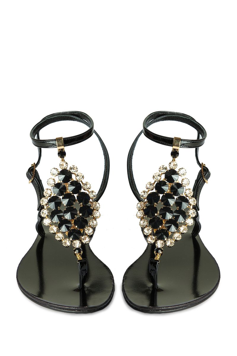 Crystal Embellished Sandal with Ankle Strap