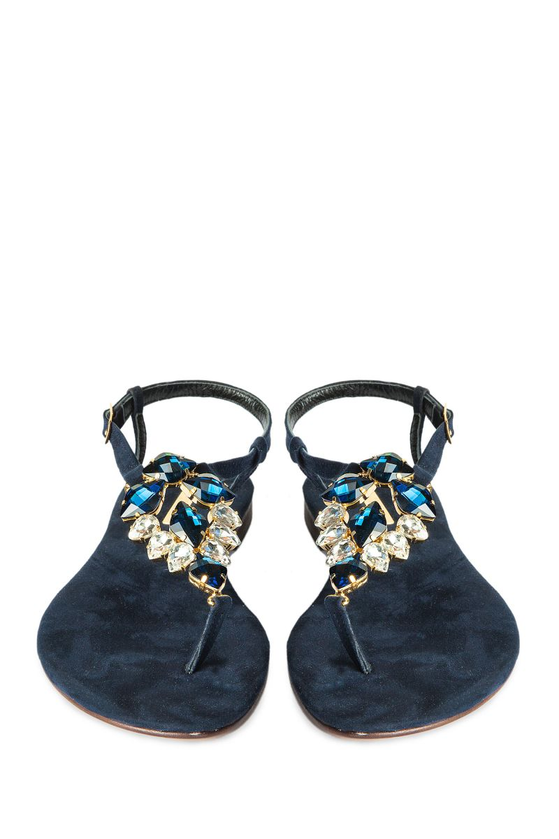 Crystal Embellished Sandal with Suede Sole