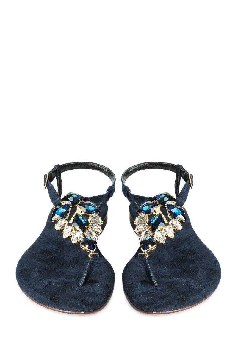 Crystal Embellished Sandal with Suede Sole