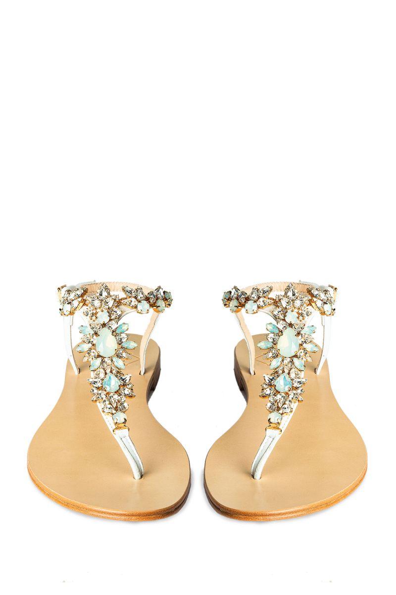 Crystal Embellished Sandal with Gold Detail