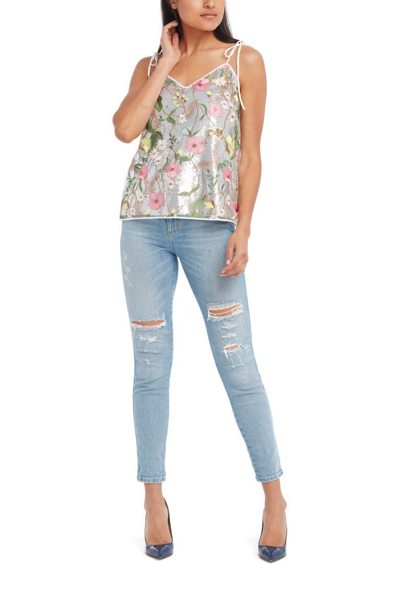 Floral Sequin Top