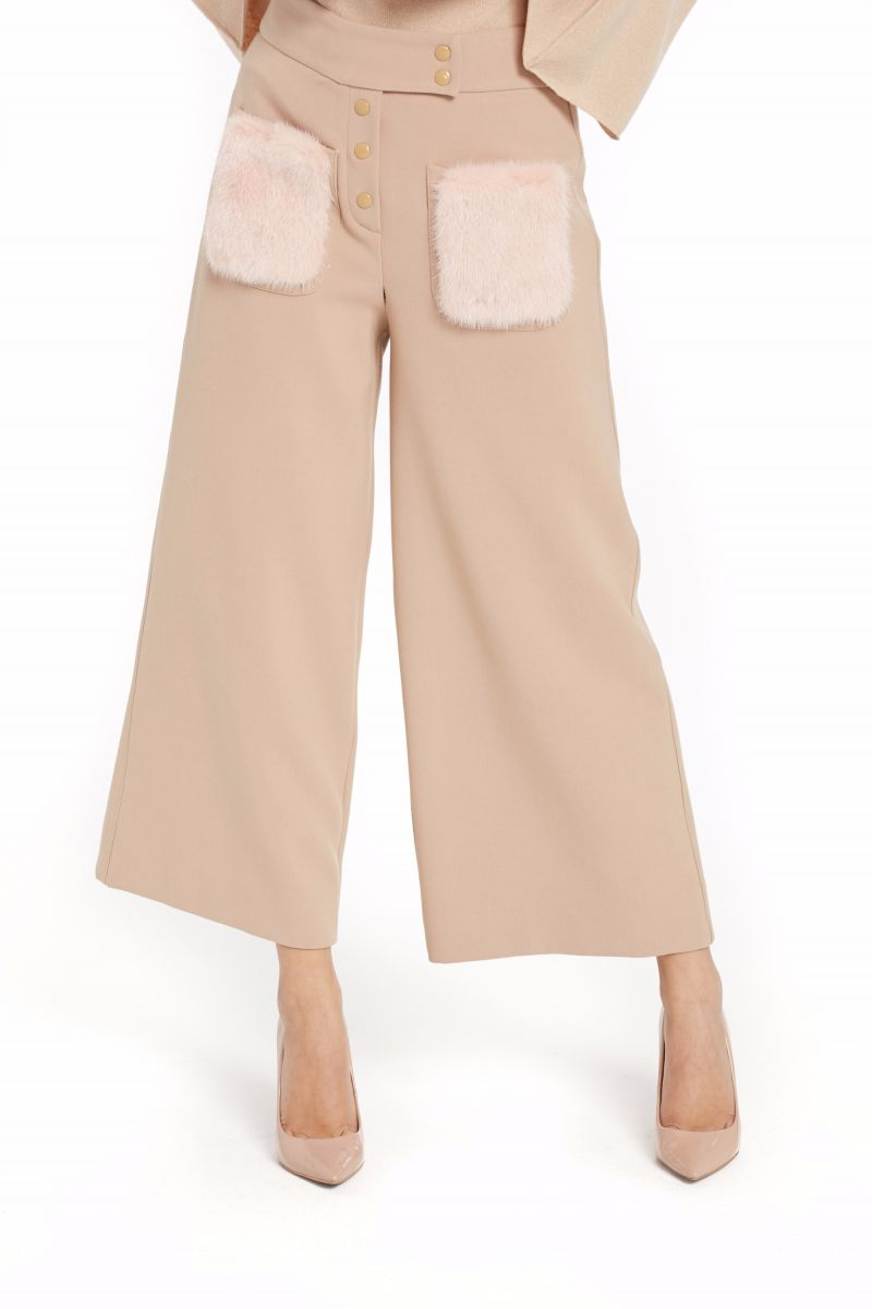 Pants with Mink Fur Pockets