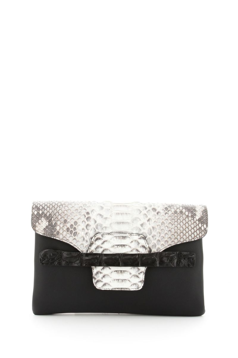 Santorini Black Clutch