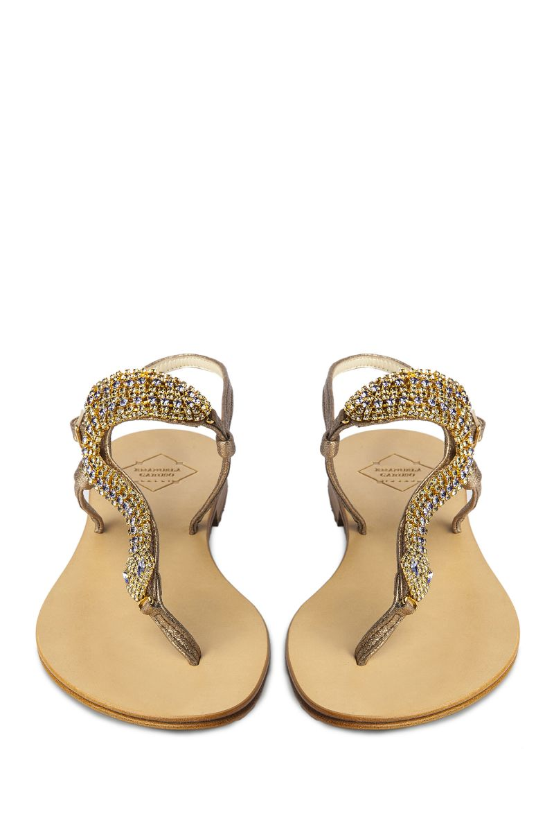 Crystal Embellished Sandal with Snake