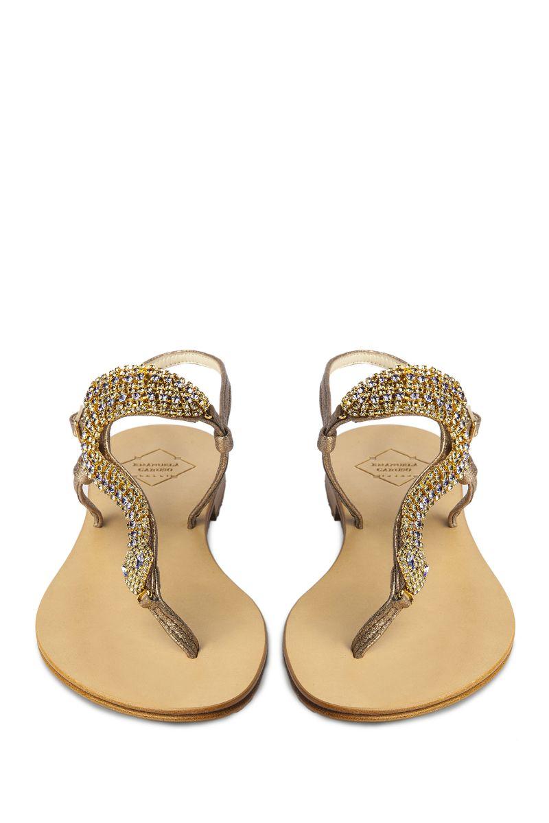 Crystal Embellished Sandal with Snake