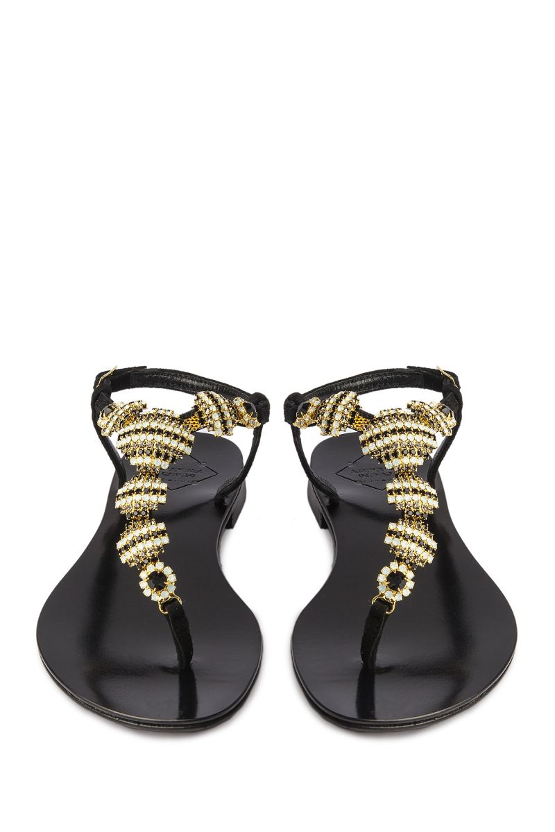 Crystal Embellished Sandal with Black and Gold Detail