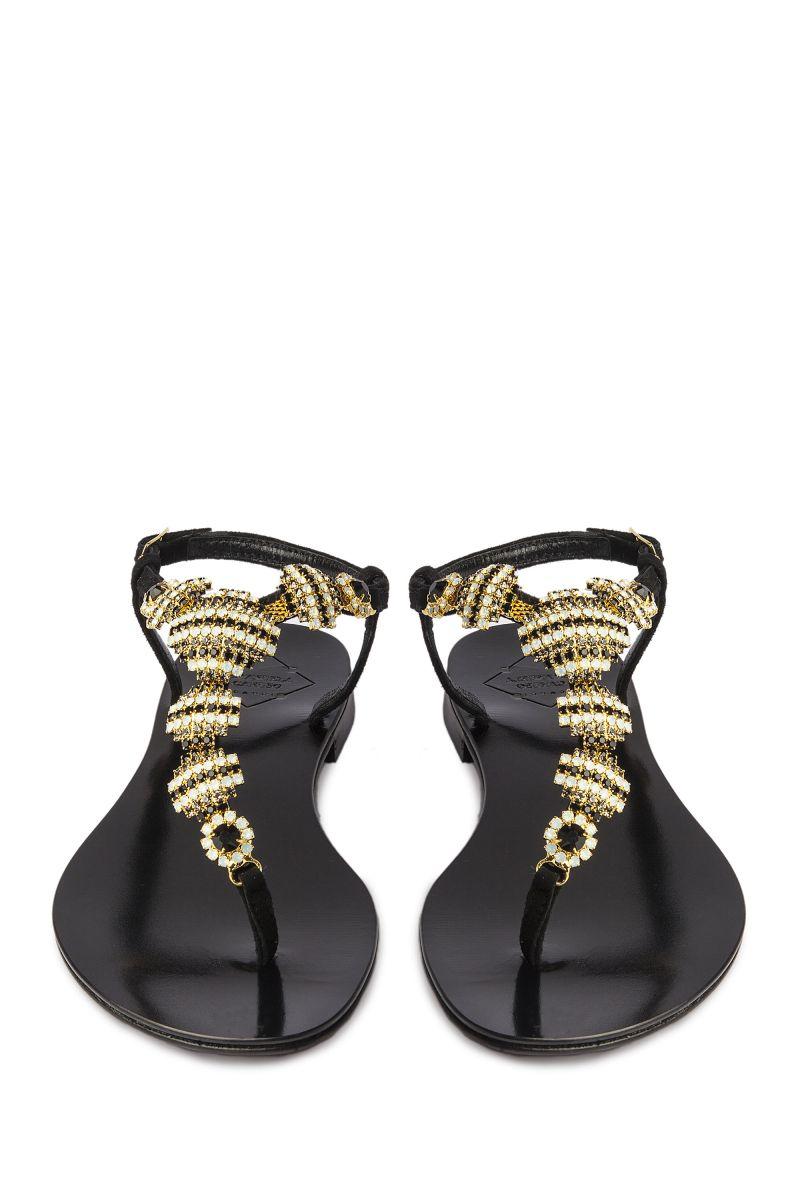 Crystal Embellished Sandal with Black and Gold Detail