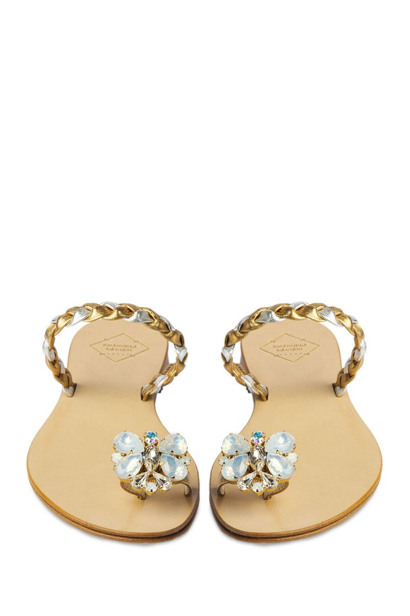 Crystal Embellished Sandal with Butterfly