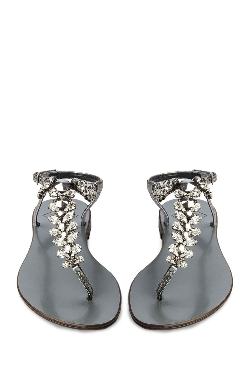 Crystal Embellished Sandal with Silver Strap