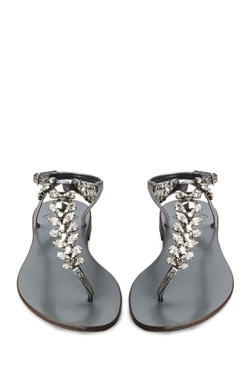 Crystal Embellished Sandal with Silver Strap