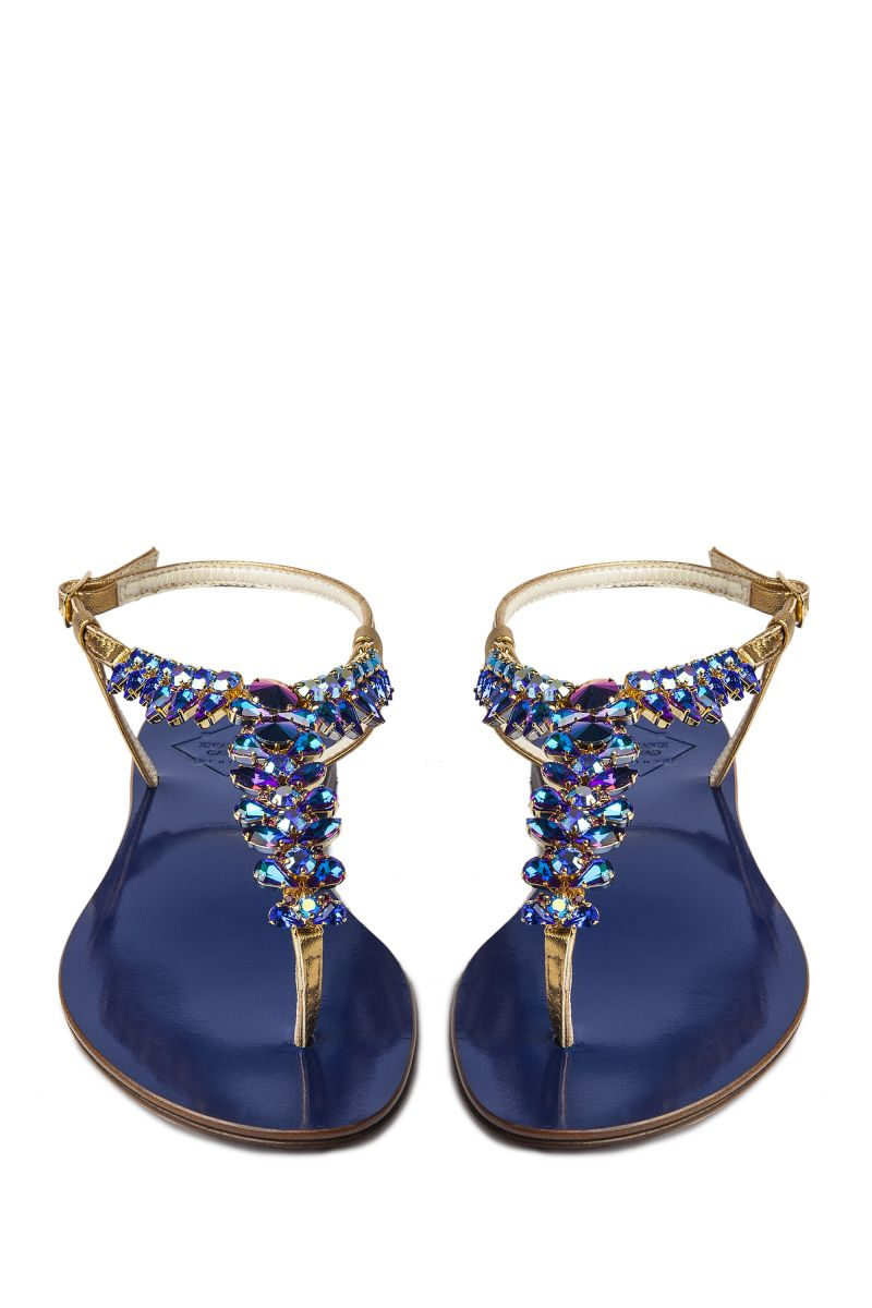 Crystal Embellished Sandal with Gold Strap