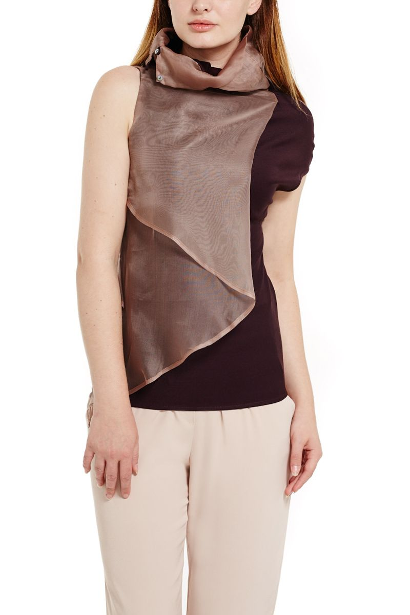 Asymmetric Top with Button Collar