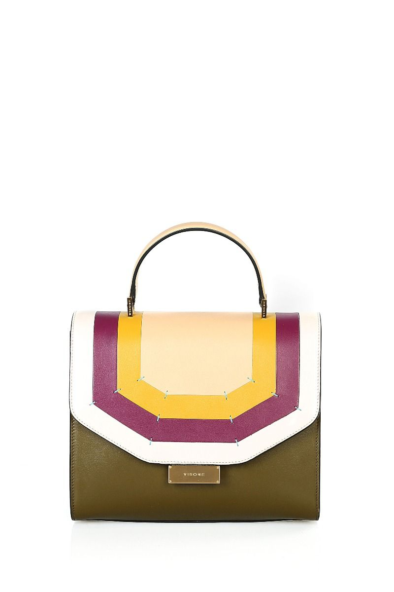 Angie Medium Top Handle Bag with Geometric Stripes