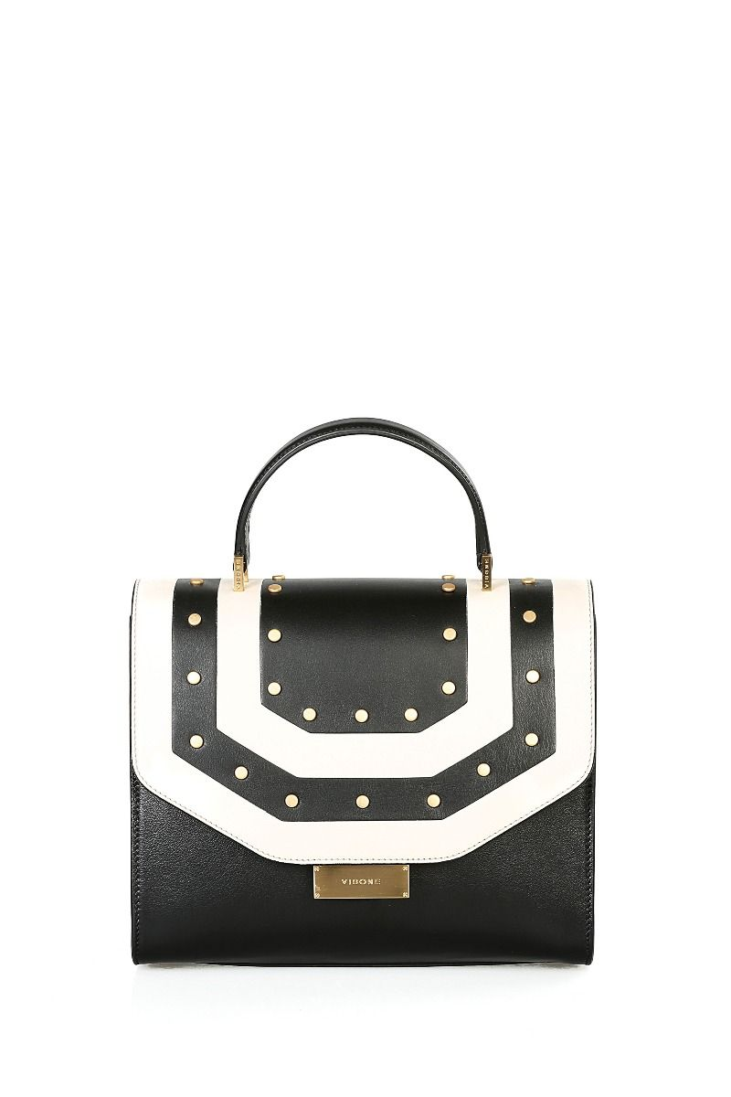 Angie Medium Handbag with Geometric Stripes and Studs