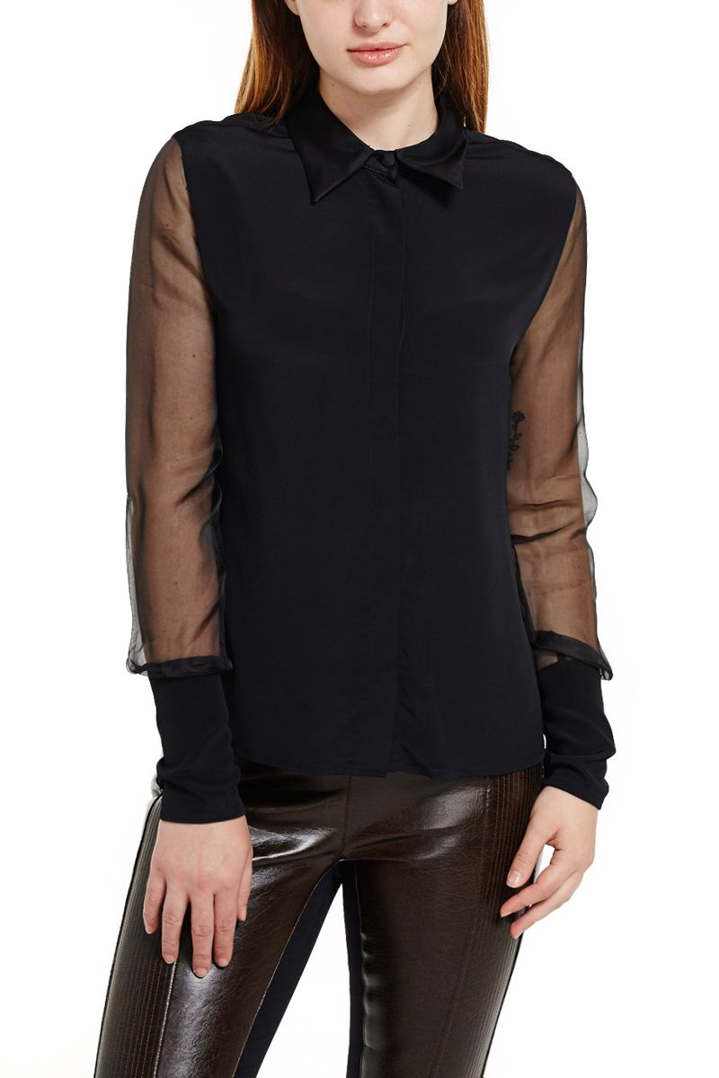 Blouse with Sheer Sleeves