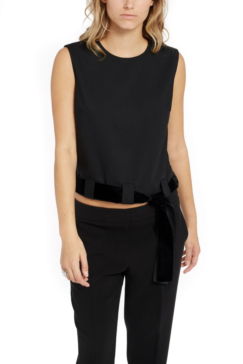 Sleeveless Top with Velvet Belt