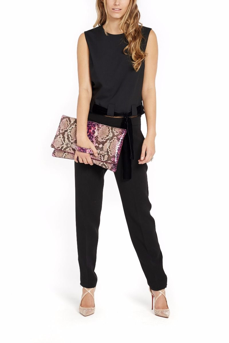 Panama Python Clutch with Gold Strap