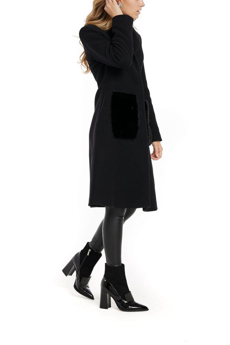 Wool Coat with Mink Fur Pockets