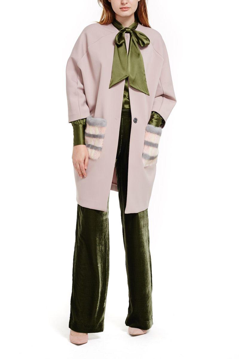 Coat with Mink Fur Pockets