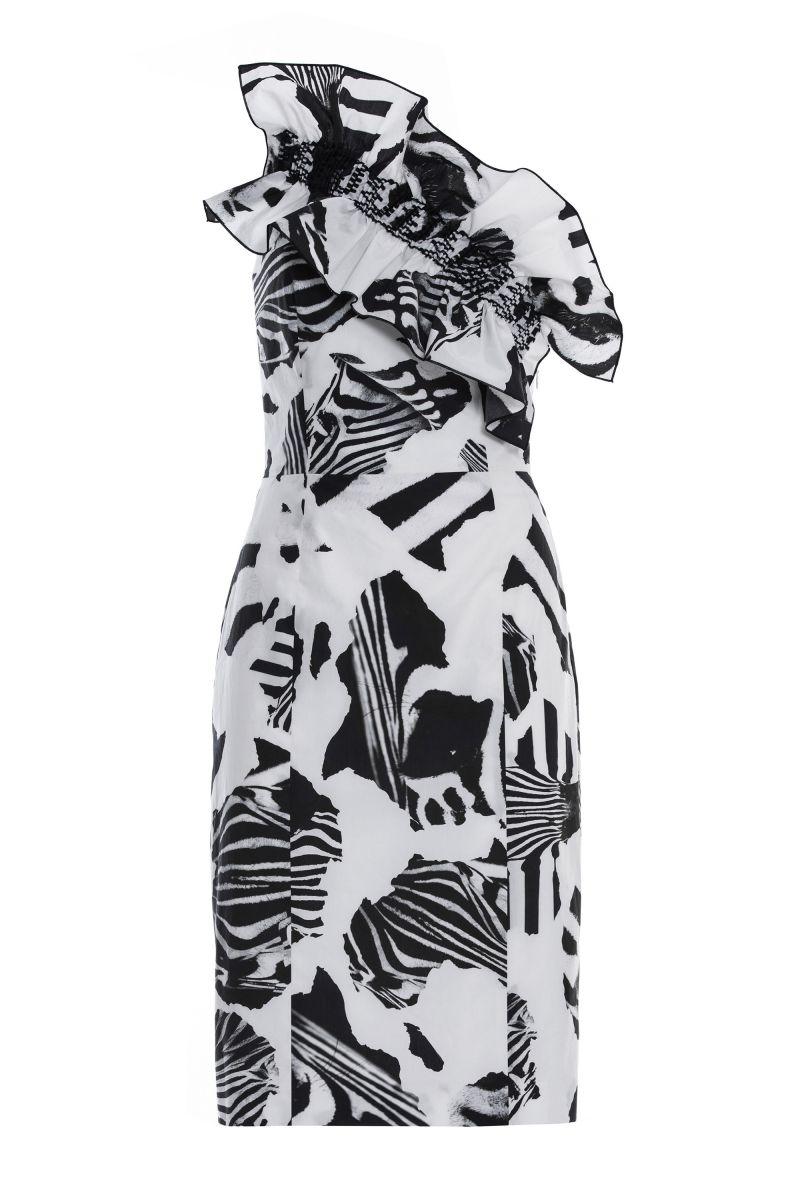 Strapless Asymmetric Dress with Ruffles
