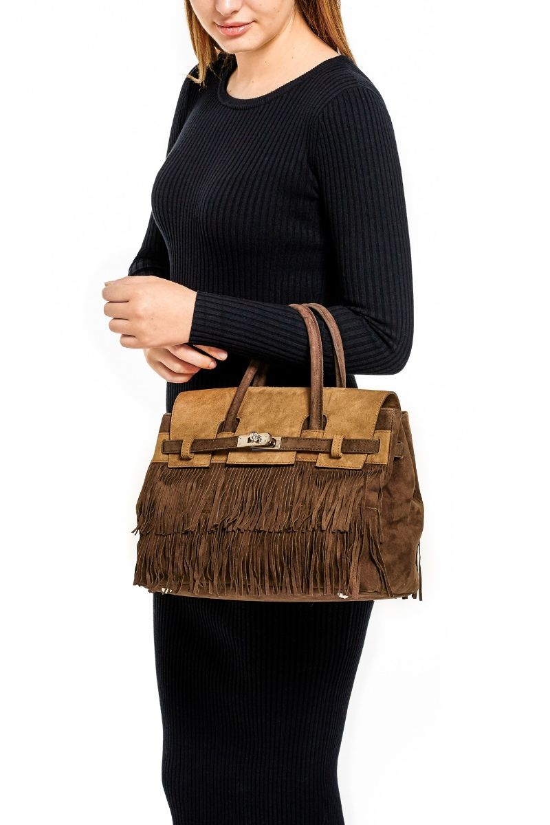 Hippie Chic Medium Two Tone Fringe Bag