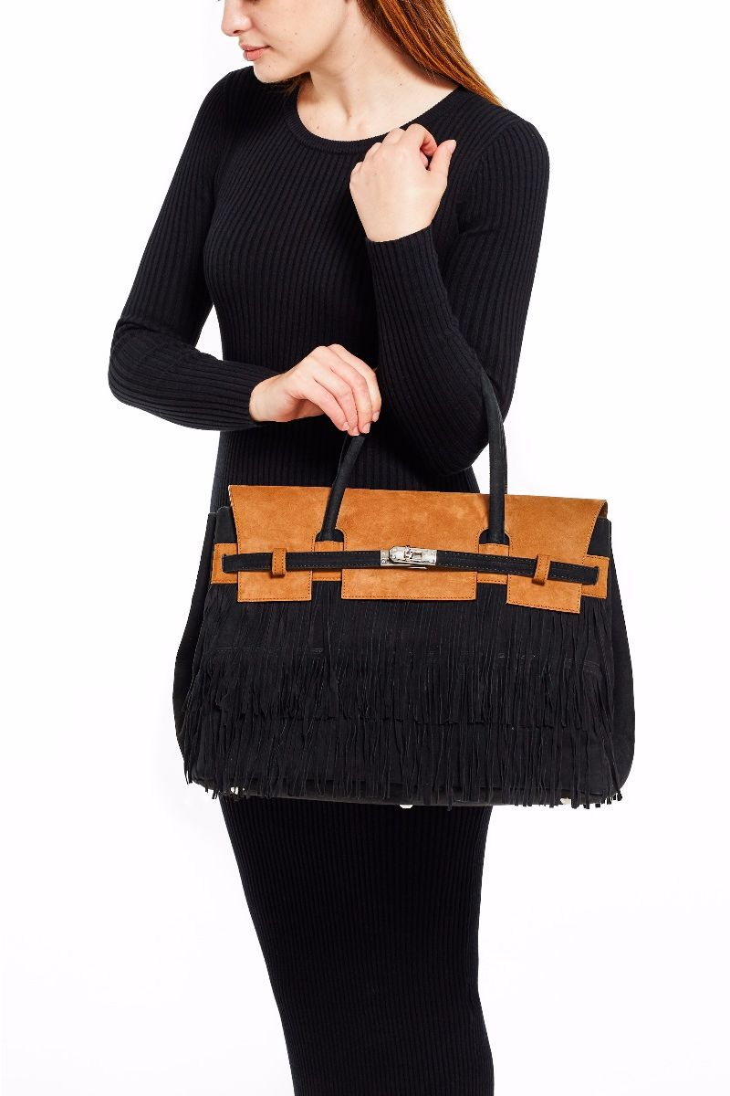 Hippie Chic Large Two Tone Fringe Bag