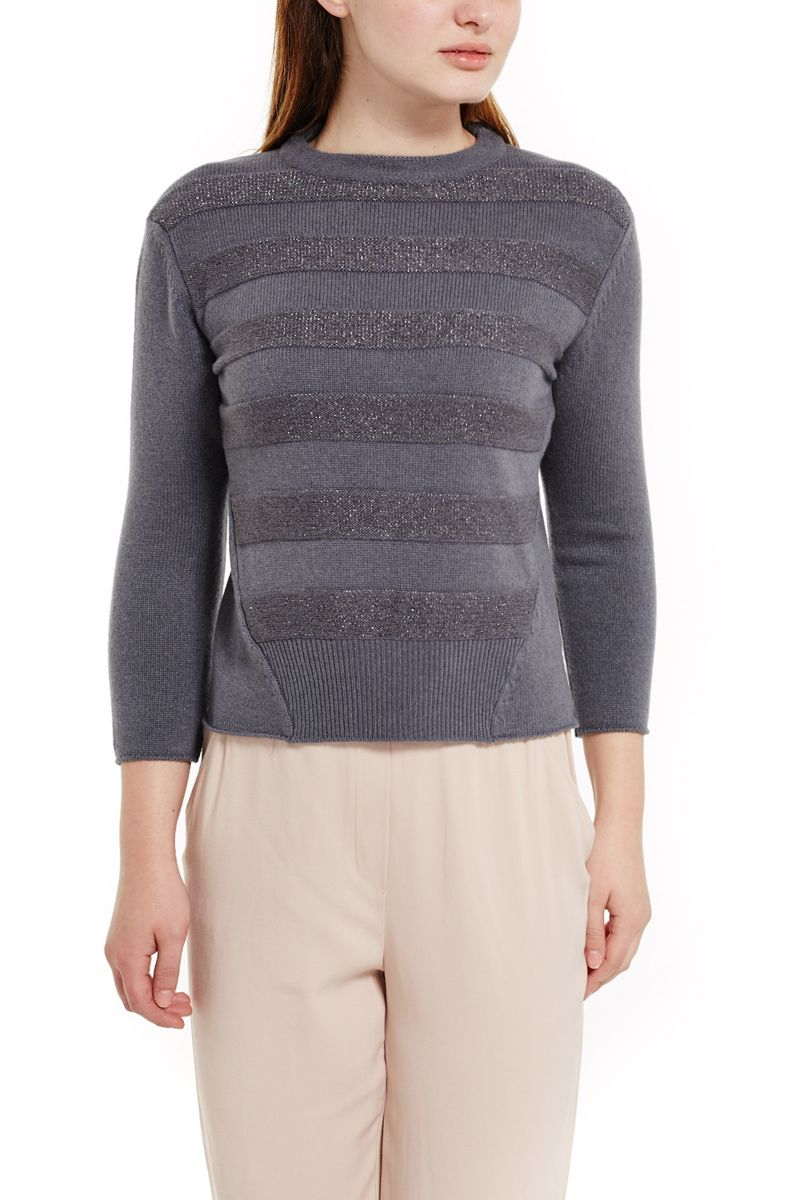 Grey Cashmere Sweater with Accent Stripes