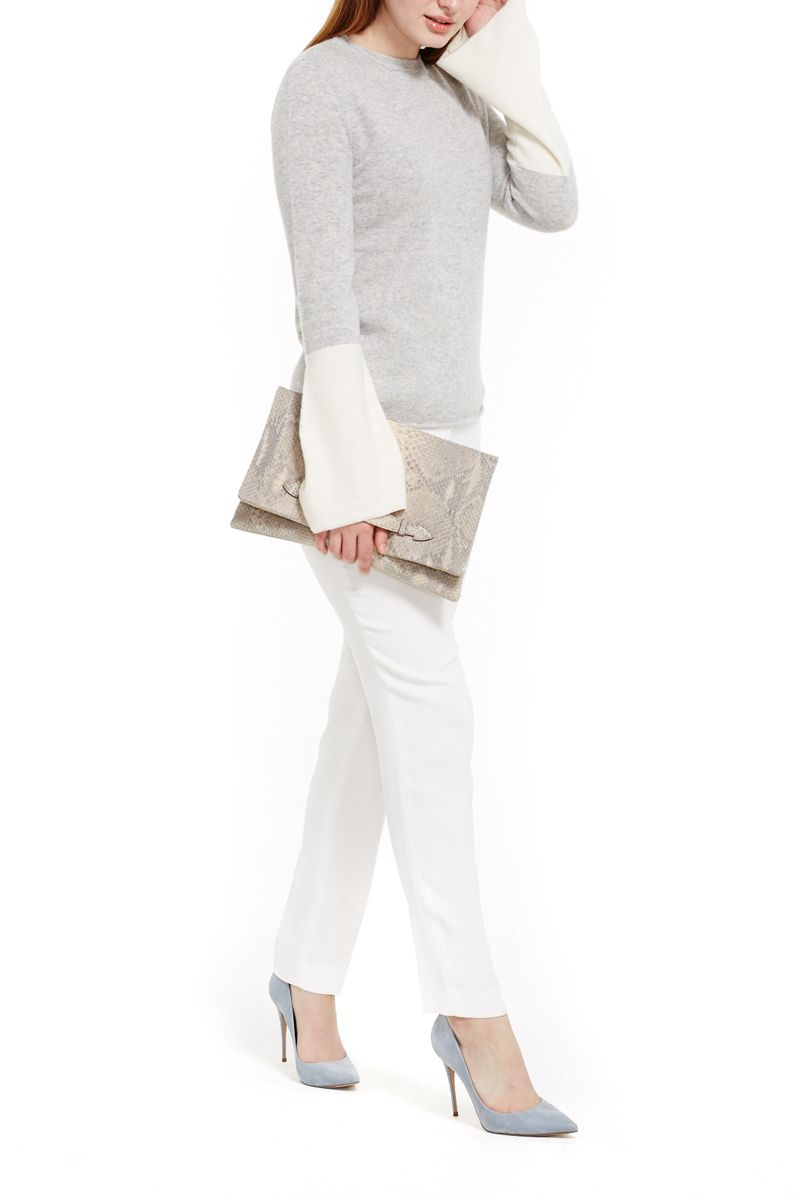 Cashmere Sweater with Accent Sleeve