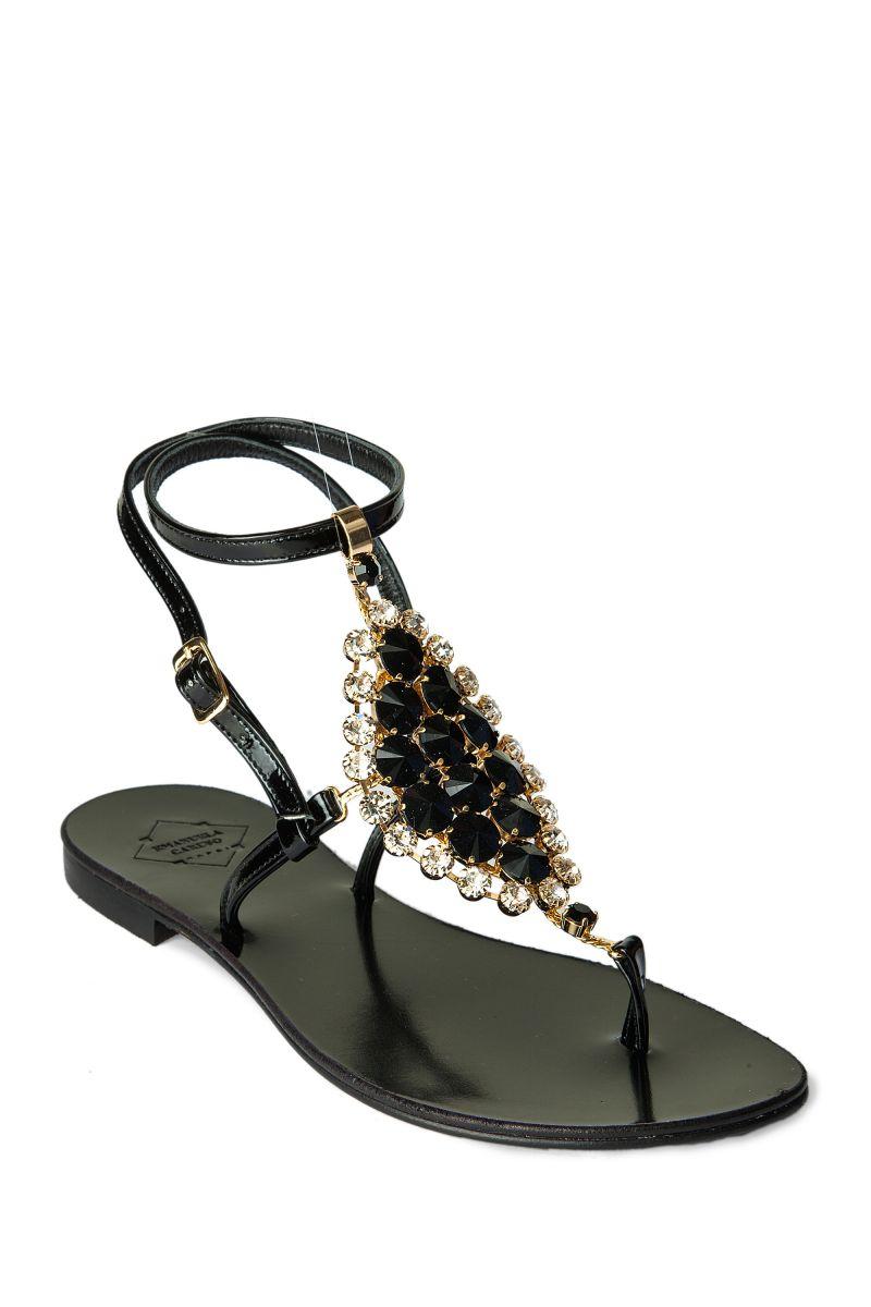 Crystal Embellished Sandal with Ankle Strap