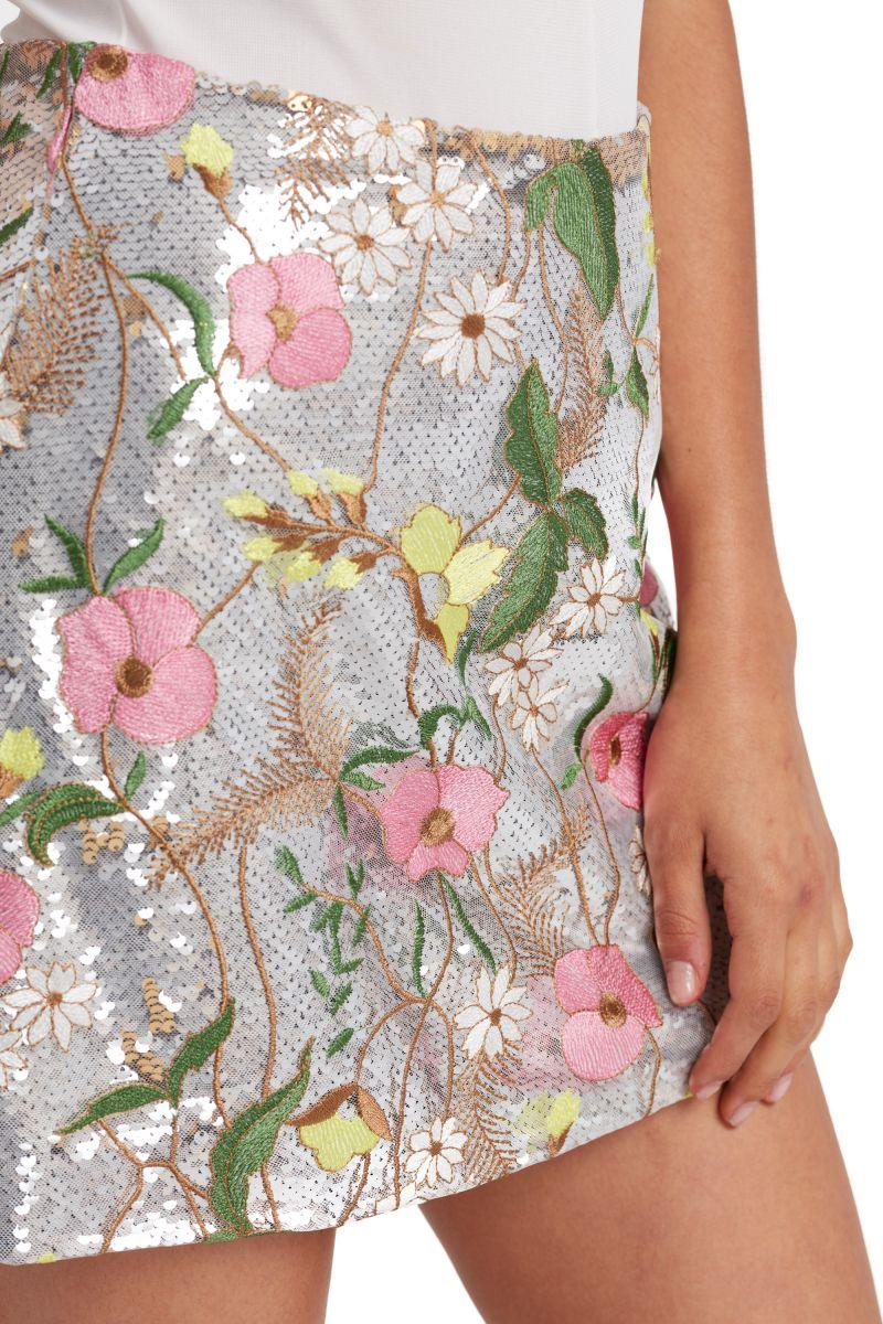 Floral Sequin Mini Skirt