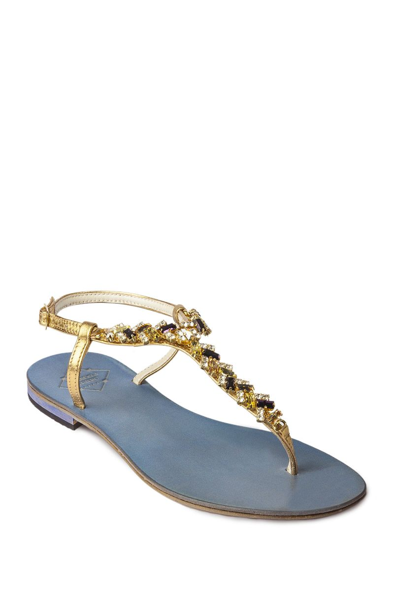 Crystal Embellished Sandal with Baguette Stones