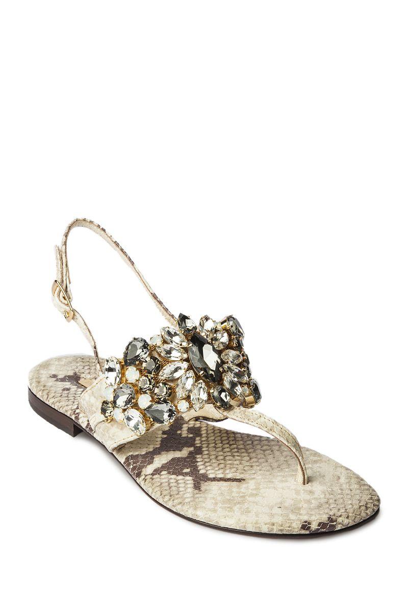 Crystal Embellished Snakeskin Sandal