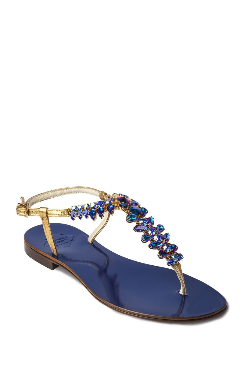 Crystal Embellished Sandal with Gold Strap