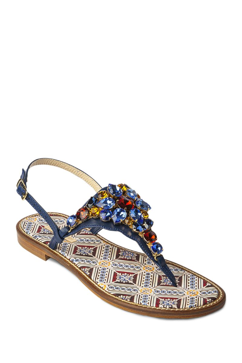 Crystal Embellished Sandal with Printed Sole