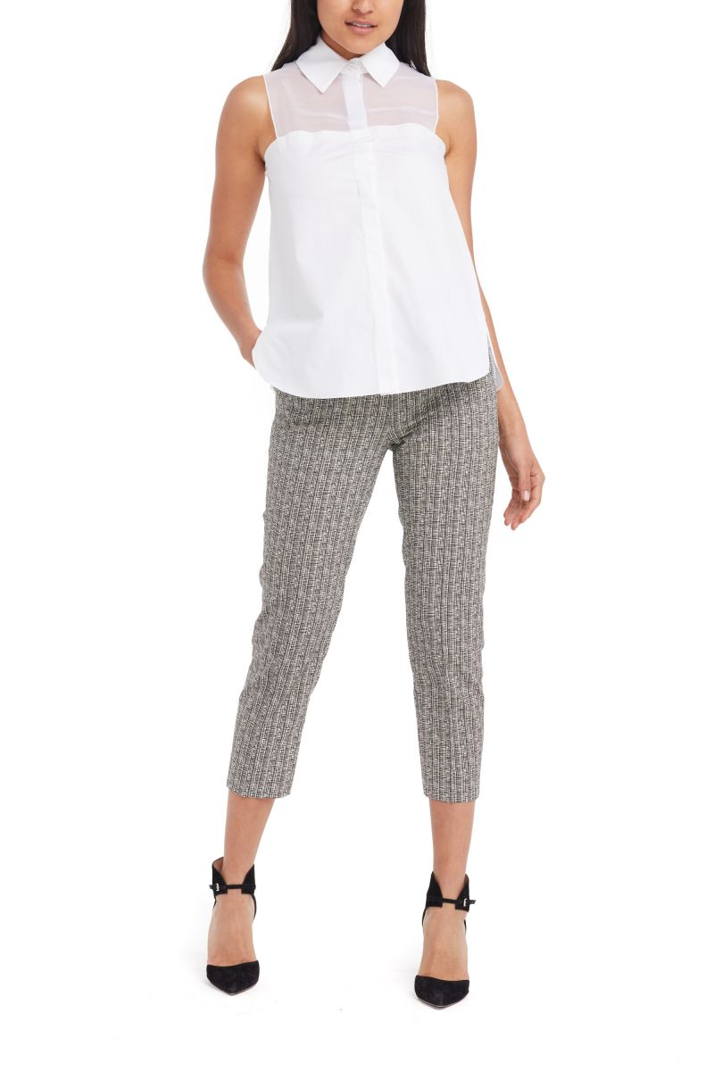 Cropped Cotton-Blend Pants