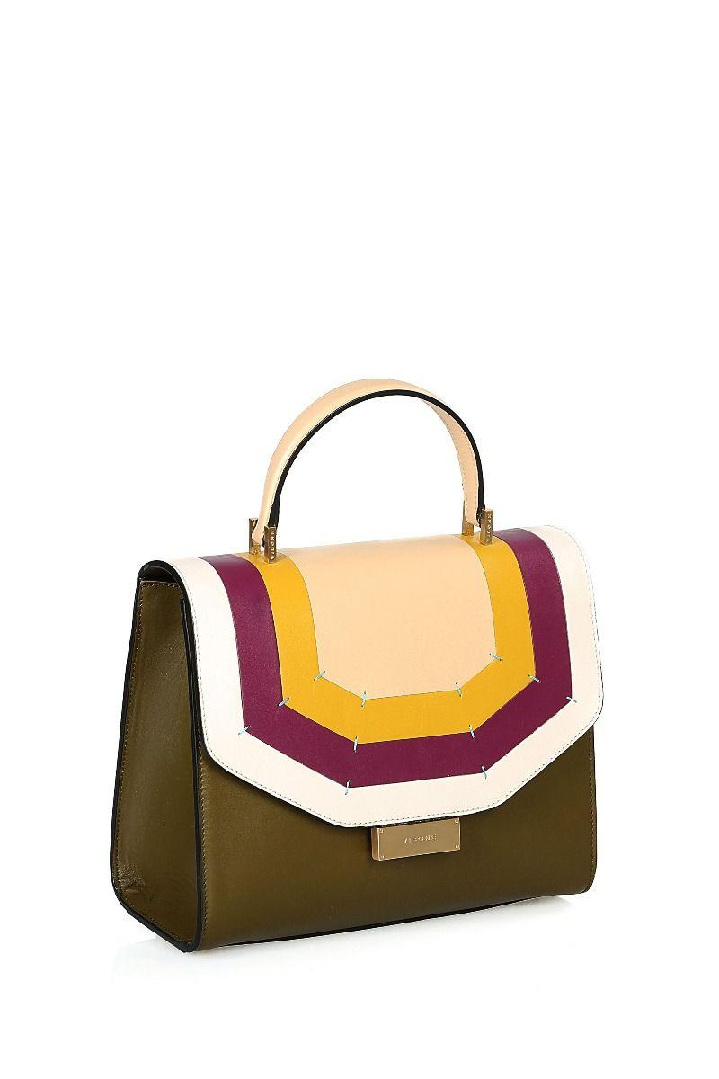 Angie Medium Top Handle Bag with Geometric Stripes