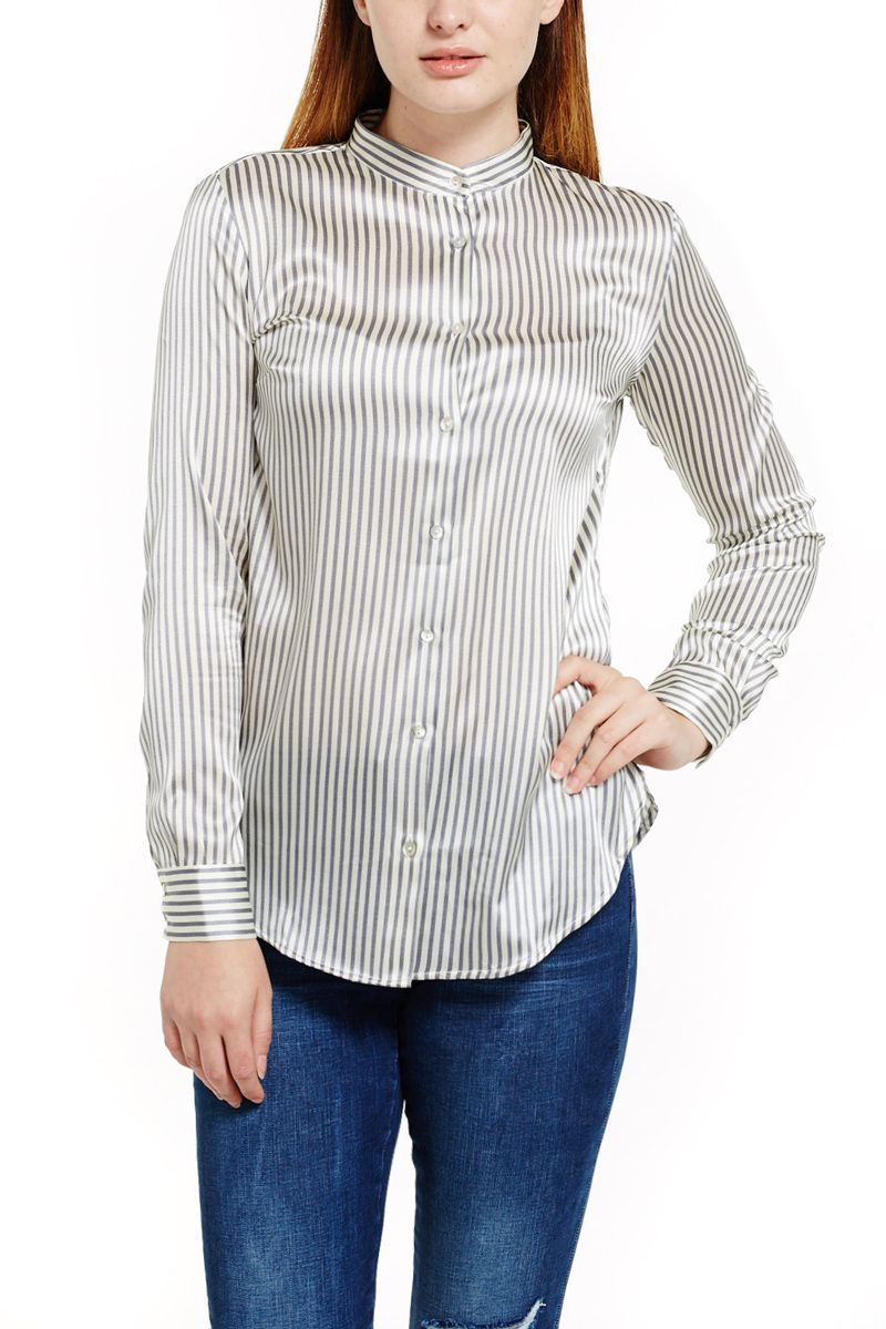 ad9011e2b2329 Pinstripe Silk Blouse with Mandarin Collar in Grey   White