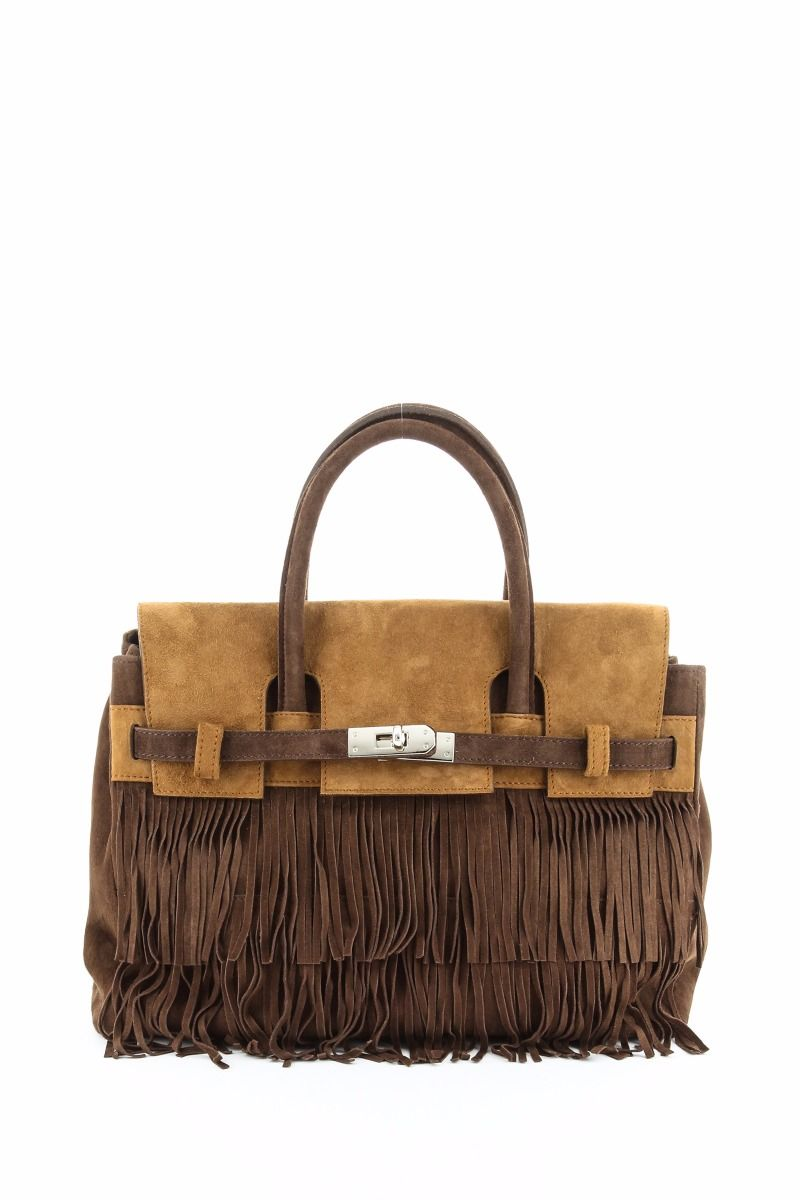 Make A Statement With This Two Tone Suede Handbag Delicately Cut Fringe And Italian An Exciting New Addition To Any Accessories